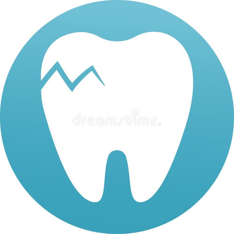 Ic?ne plate de dent, dentaire fendus et m?decine Probl?me dentaire Dents rompues et ?br?ch?es Mal de dents, soins dentaires illustration libre de droits