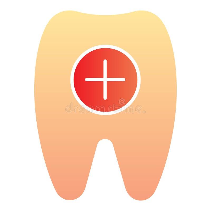 Icône plate de dent saine Dent et icônes plus de couleur dans le style plat à la mode Conception de style de gradient de soins de illustration libre de droits