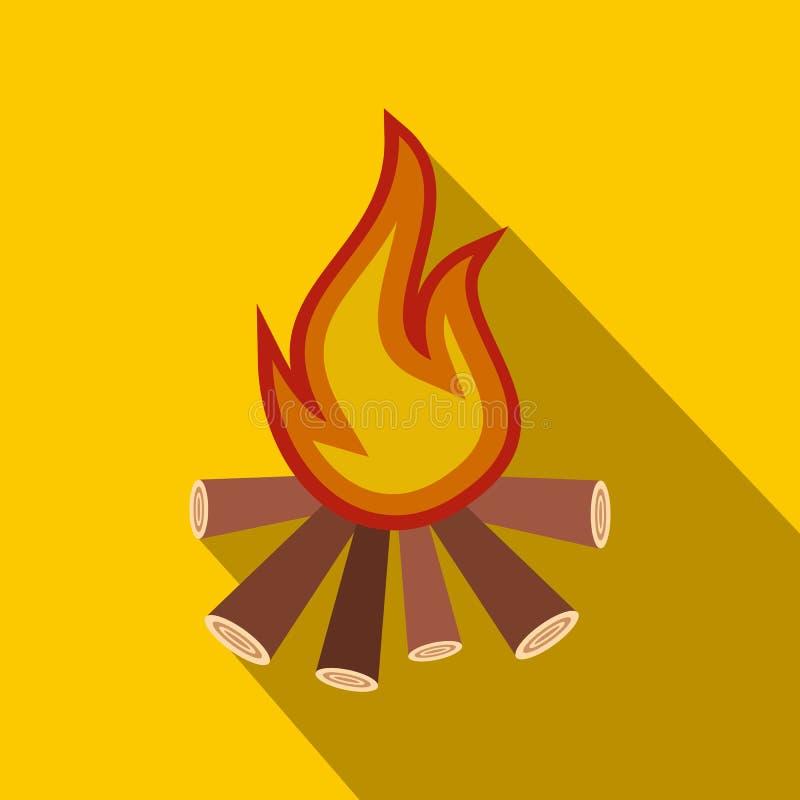 Icône plate de feu brûlant illustration stock