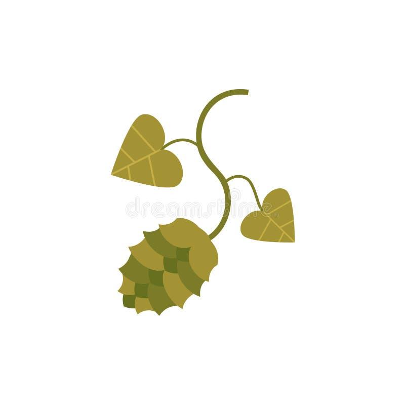 Icône plate de houblon en cônes et de feuilles, ingrédient de bière illustration libre de droits