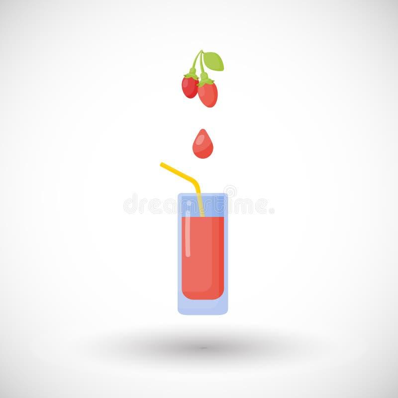 Icône plate de jus de baies de Goji illustration de vecteur
