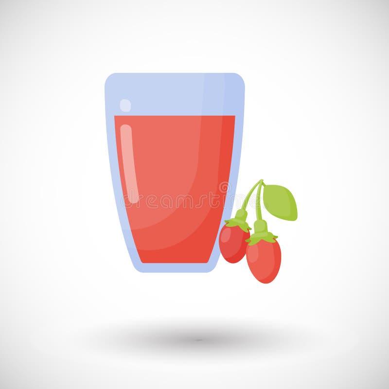 Icône plate de jus de baies de Goji illustration stock