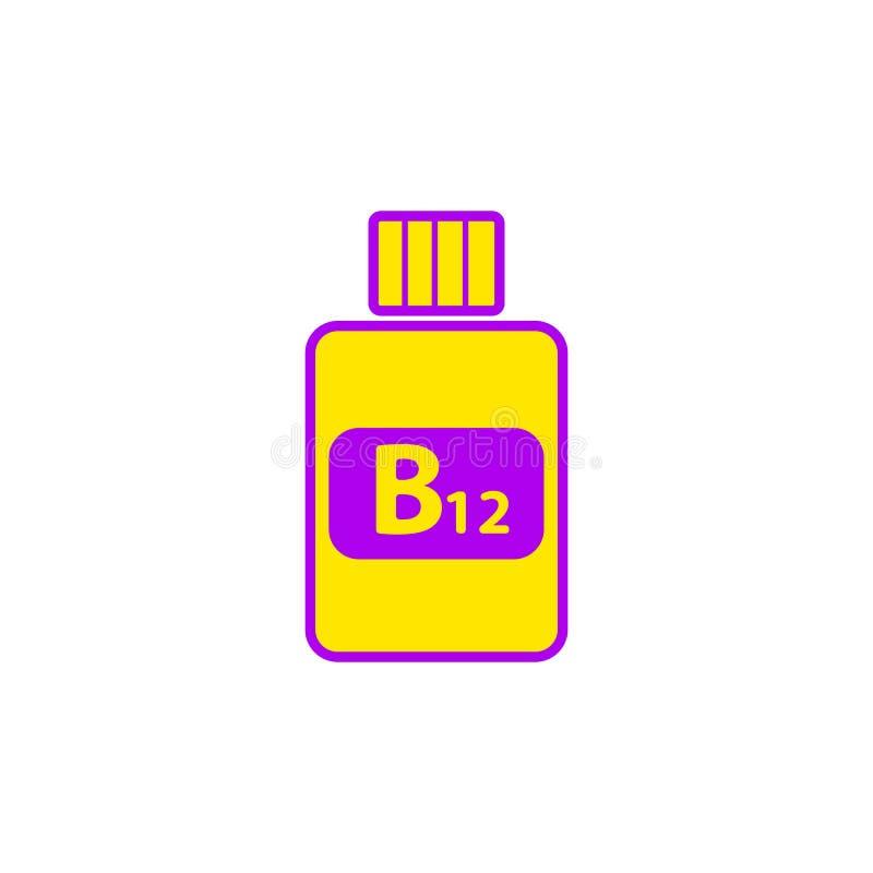 Icône plate de la vitamine B12 dans les couleurs jaune-violettes photo stock