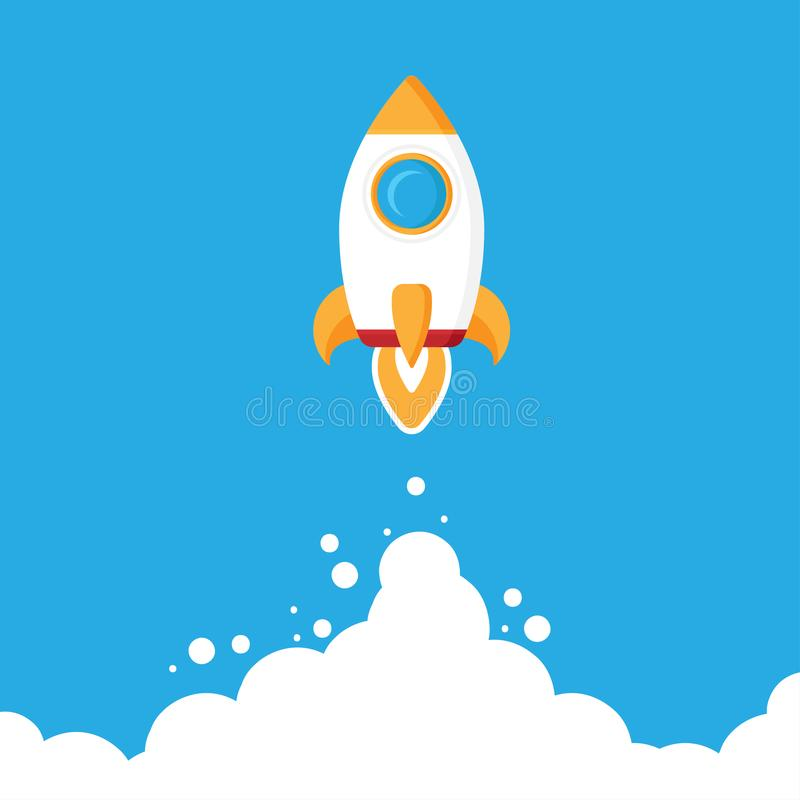 Icône plate de lancement de fusée de Minimalistic Illustration de Rocket avec le feu de nuages, d'espace et de lancement, art mod illustration libre de droits