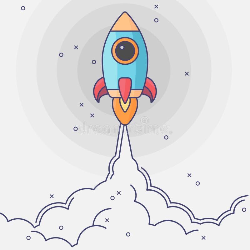 Icône plate de lancement de fusée de Minimalistic Illustration de Rocket avec le feu de nuages, d'espace et de lancement, art mod illustration de vecteur