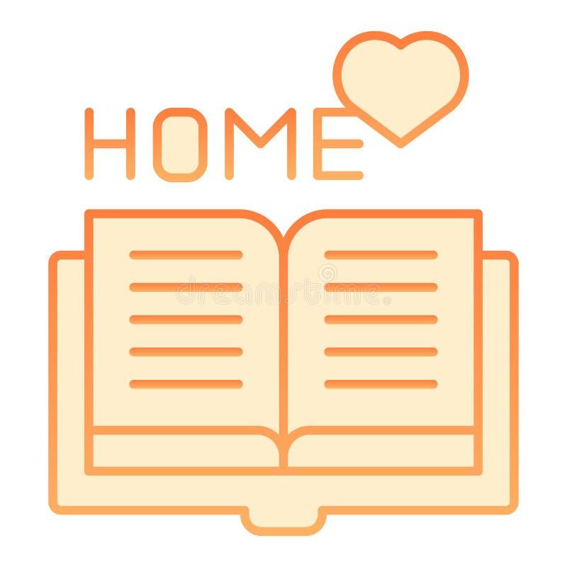 Icône plate de lecture à la maison Icônes oranges de livre à la maison dans le style plat à la mode Conception préférée de style  illustration stock