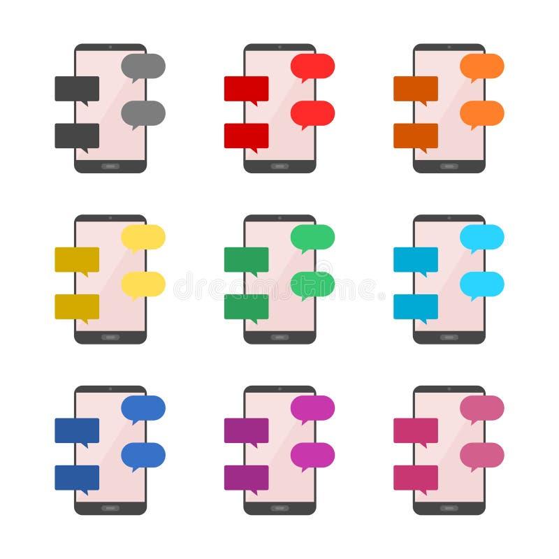Icône plate de message et de causerie de concept de construction ou logo, ensemble de couleur illustration stock