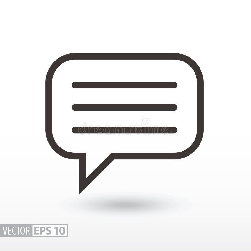 Icône plate de message Message de signe illustration stock