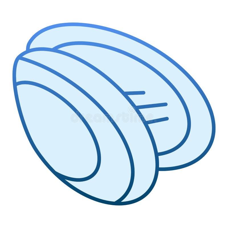 Icône plate de moule Icônes bleues de Shell dans le style plat à la mode Conception de style de gradient de fruits de mer, conçue illustration stock