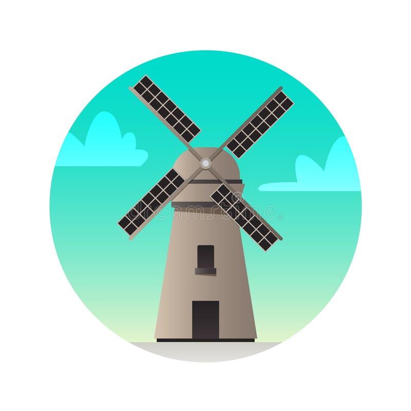 Icône plate de moulin à vent Vues historiques de la Hollande illustration stock
