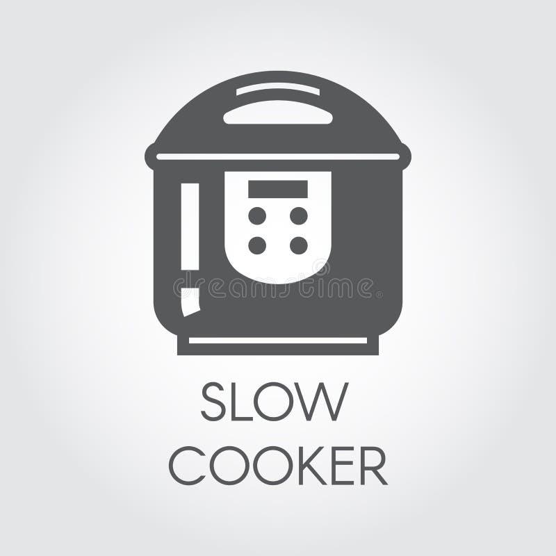 Icône plate de noir lent de cuiseur Pictogramme des appareils électroménagers électriques pour la cuisson Label graphique illustration stock