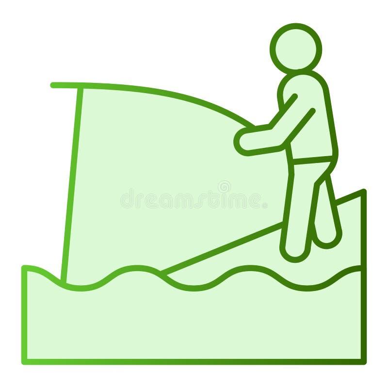 Icône plate de pêcheur Pêche des icônes vertes dans le style plat à la mode Conception de style de gradient de Fisher et de tige, illustration stock