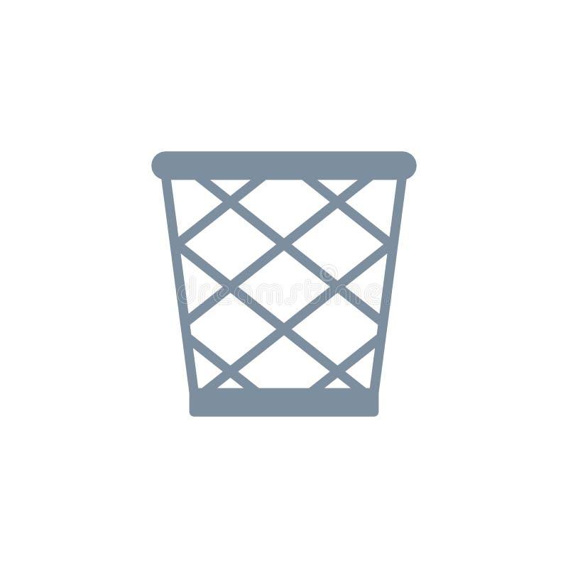 Icône plate de panier de rebut illustration de vecteur