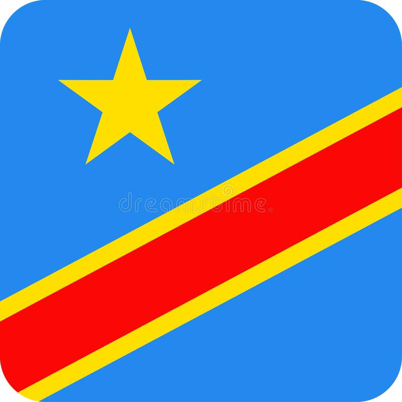 Icône plate de place de vecteur de drapeau de la République démocratique du Congo illustration de vecteur