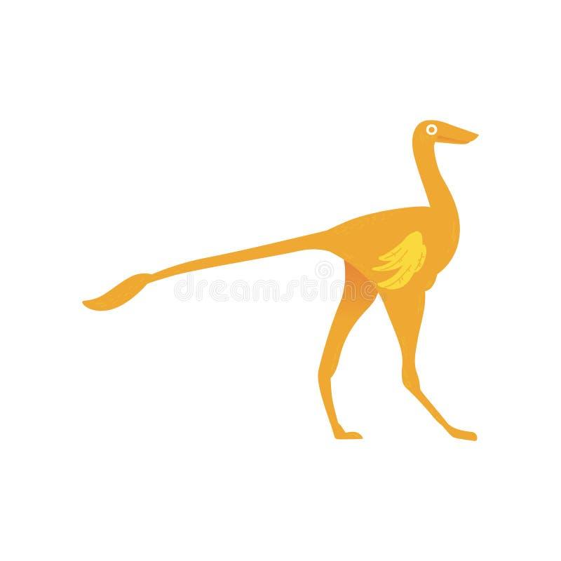 Icône plate a de prédateur de dinosaure d'ornitomimus de vecteur illustration de vecteur