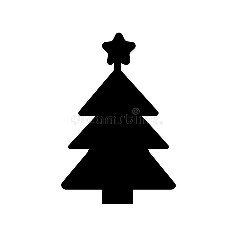 Icône plate de silhouette, conception simple de vecteur Symbole de sapin pour Noël d'illustration, nouvelle année, arbre de Noël illustration de vecteur