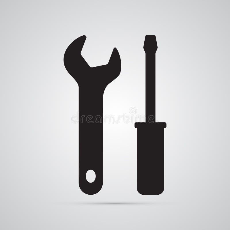 Icône plate de silhouette, conception simple de vecteur Turnscrew et clé illustration stock