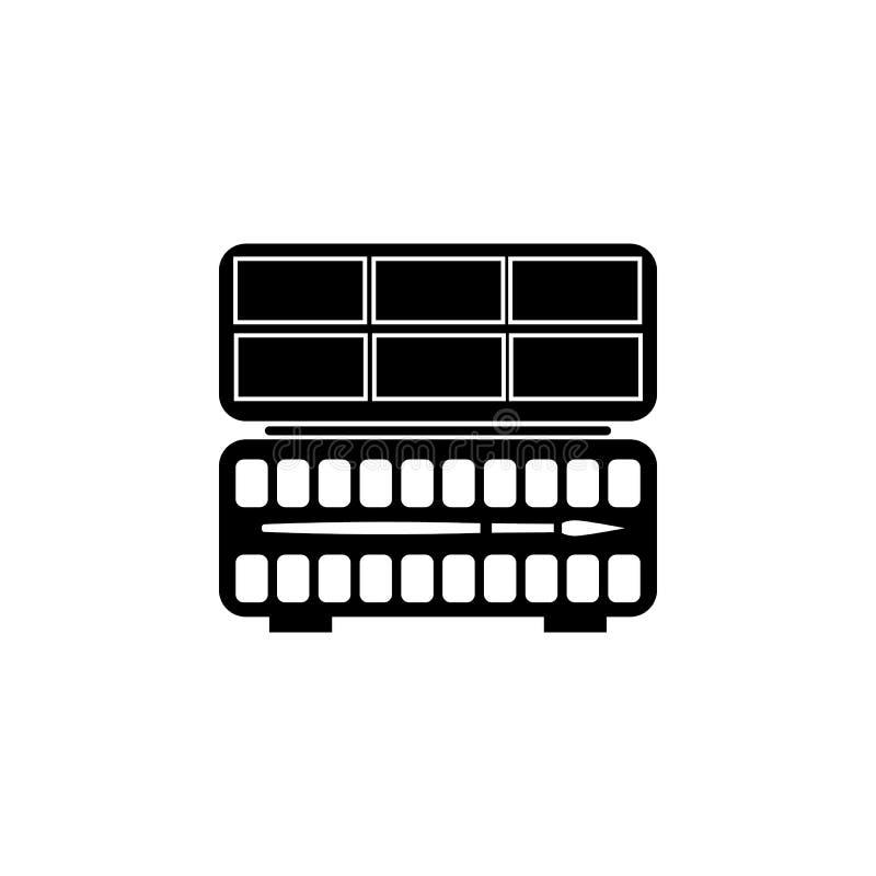 Icône plate de silhouette, conception de vecteur Palette du ` s d'artiste avec la peinture d'aquarelle et brosse pour l'illustrat illustration libre de droits