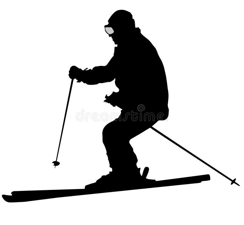 Icône plate de skieur noir sur le fond blanc illustration stock