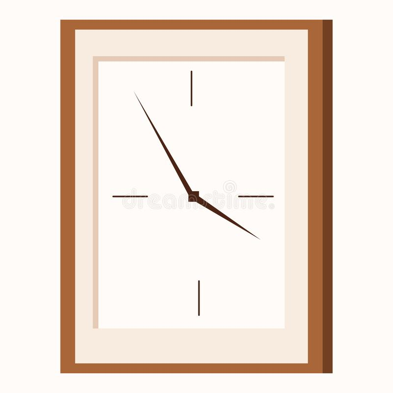 Icône plate de style de bande dessinée d'horloge murale rectangulaire de forme illustration libre de droits