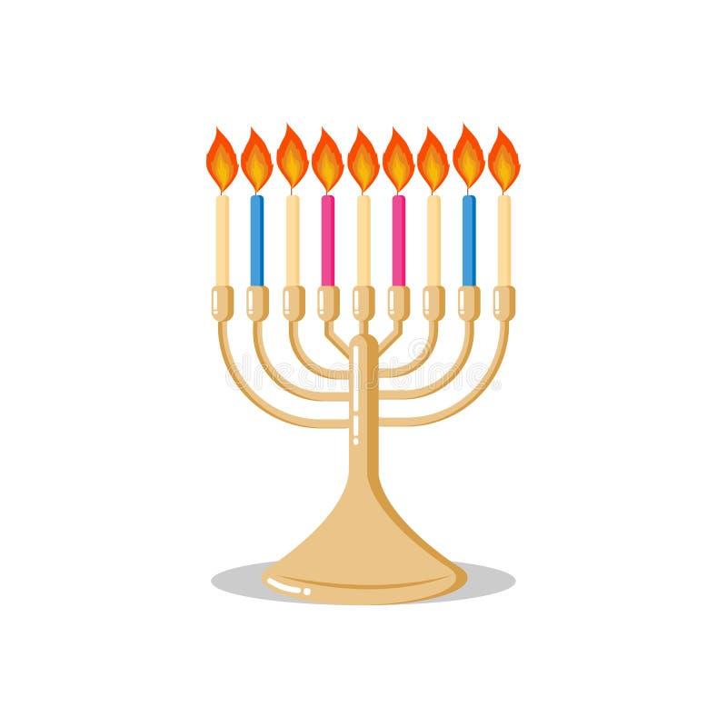 Icône plate de style de menorah avec des bougies - candélabres traditionnels juifs - pour Hanoucca ou toutes vacances religieuses illustration stock