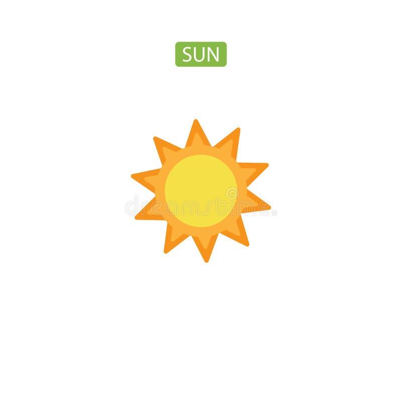 Icône plate de Sun illustration stock