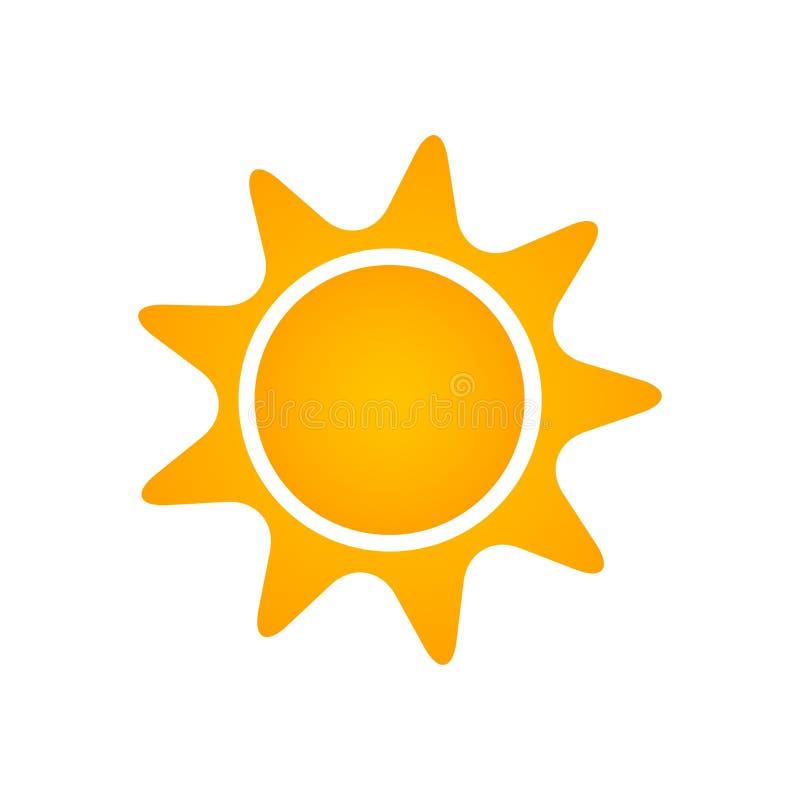 Icône plate de Sun Pictogramme d'été Symbole de lumière du soleil Illustration de vecteur d'isolement sur le fond blanc illustration libre de droits