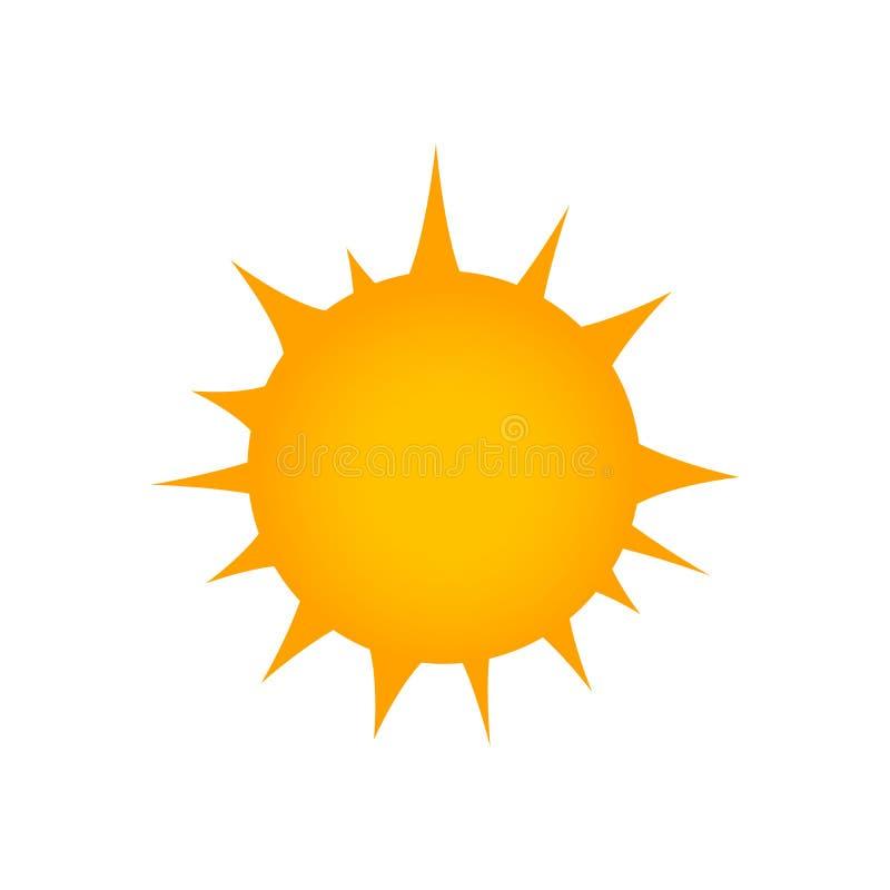 Icône plate de Sun Pictogramme d'été Symbole de lumière du soleil rayons Illustration de vecteur d'isolement sur le fond blanc illustration libre de droits