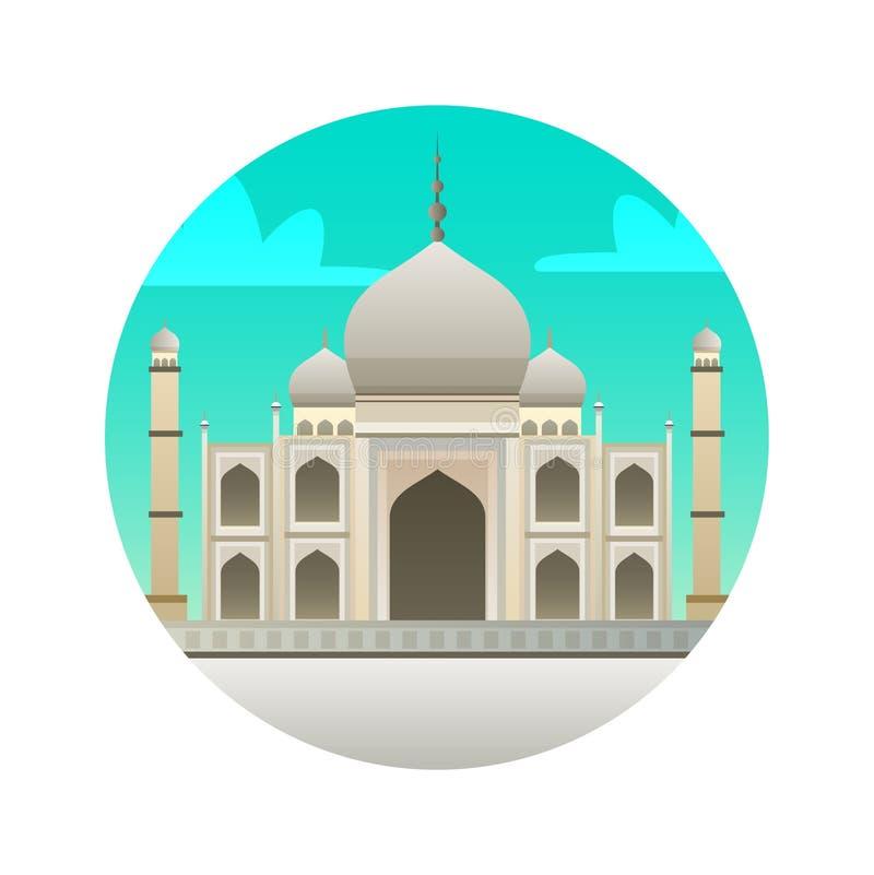 Icône plate de Taj Mahal Point de repère vues historiques d'Inde, Âgrâ illustration stock