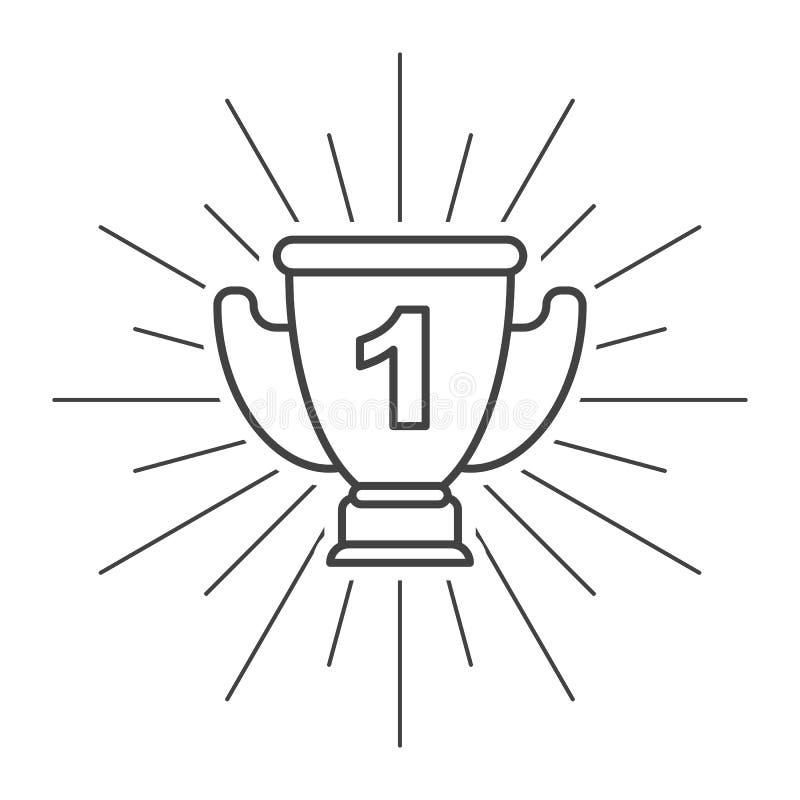 Icône plate de tasse de trophée avec l'unité sur le fond blanc illustration stock