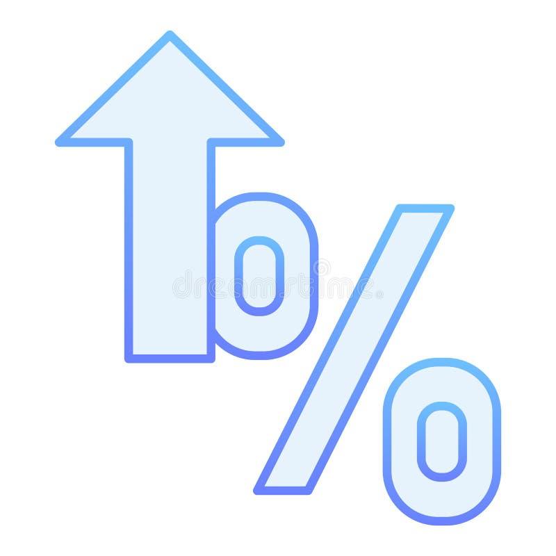 Icône plate de taux de pour cent Icônes bleues croissantes de pourcentage dans le style plat à la mode Conception de style de gra illustration stock