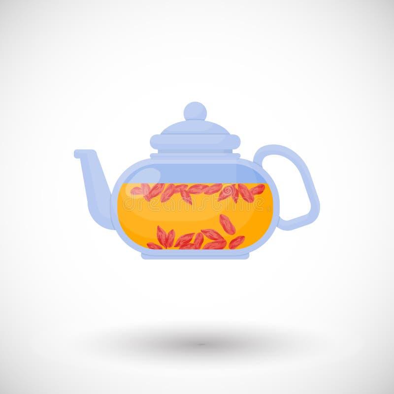 Icône plate de thé de baies de Goji illustration de vecteur