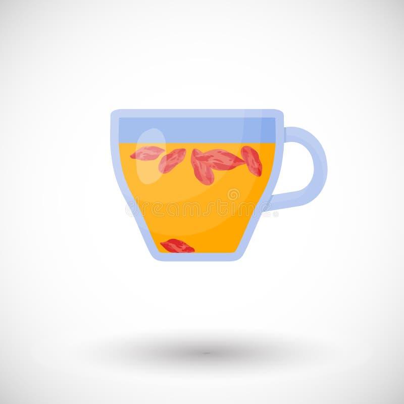 Icône plate de thé de baies de Goji illustration stock
