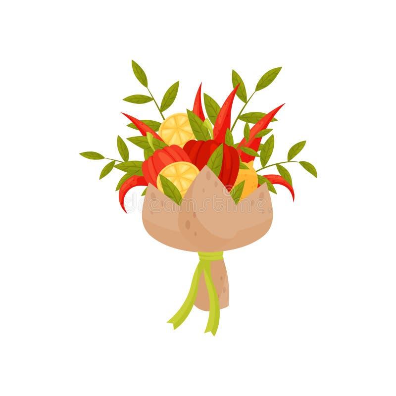 Icône plate de vecteur de bouquet faite de citron, paprika vert de brindilles, chaud et Original actuel Composition végétale illustration stock