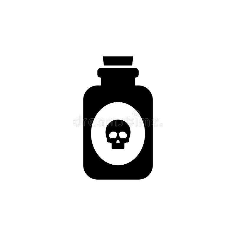 Icône plate de vecteur de bouteille en verre de poison illustration stock