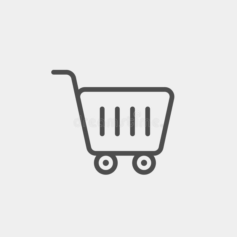 Icône plate de vecteur de chariot de nourriture Icône plate de vecteur d'achats photographie stock