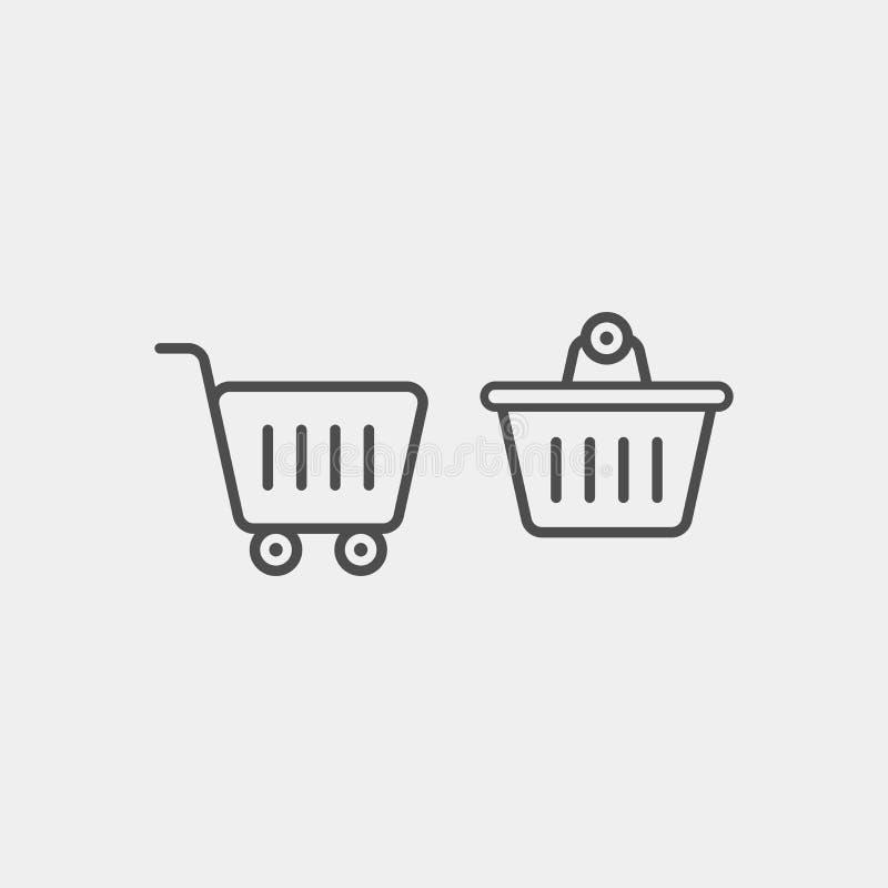 Icône plate de vecteur de chariot de nourriture Icône plate de vecteur de panier images libres de droits