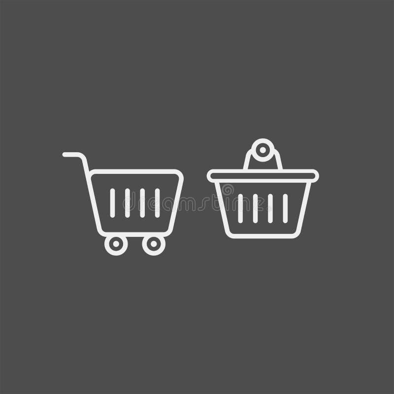 Icône plate de vecteur de chariot de nourriture Icône plate de vecteur de panier photos libres de droits