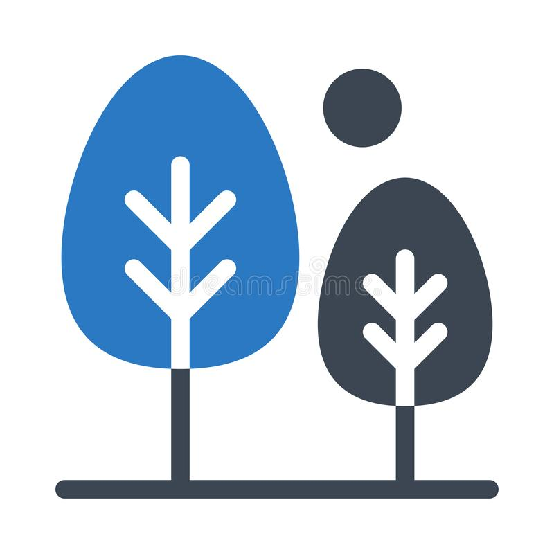Icône plate de vecteur de couleur de glyph d'arbres illustration de vecteur