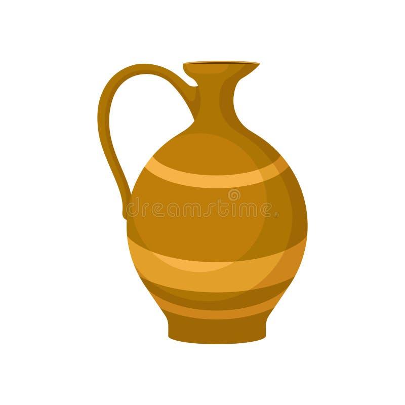 Icône plate de vecteur de cruche en céramique brune avec une poignée Grand navire pour des liquides Broc de poterie pour le vin D illustration de vecteur