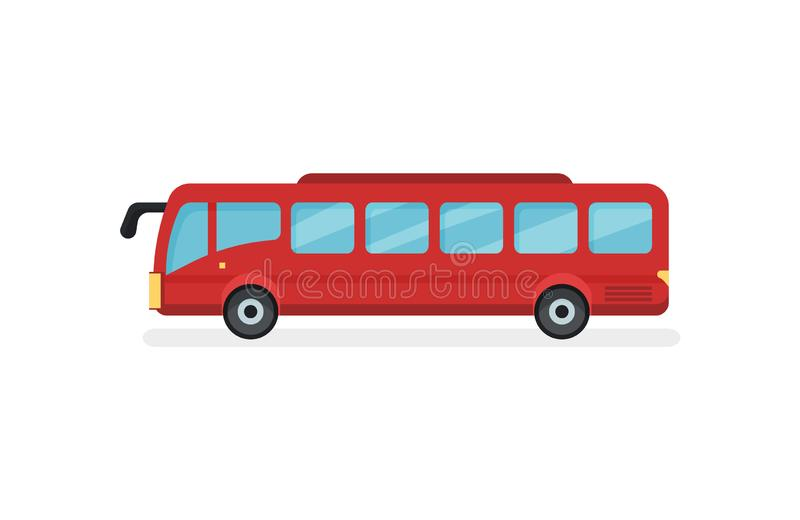 Icône plate de vecteur d'autobus rouge de ville Véhicule à moteur pour des passagers Transport en commun urbain illustration libre de droits