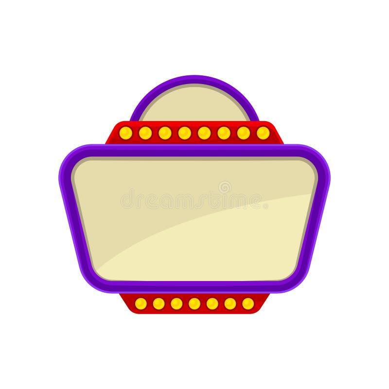 Icône plate de vecteur d'enseigne avec le cadre pourpre et les lumières rouges Bannière avec l'endroit pour le texte Élément pour illustration de vecteur