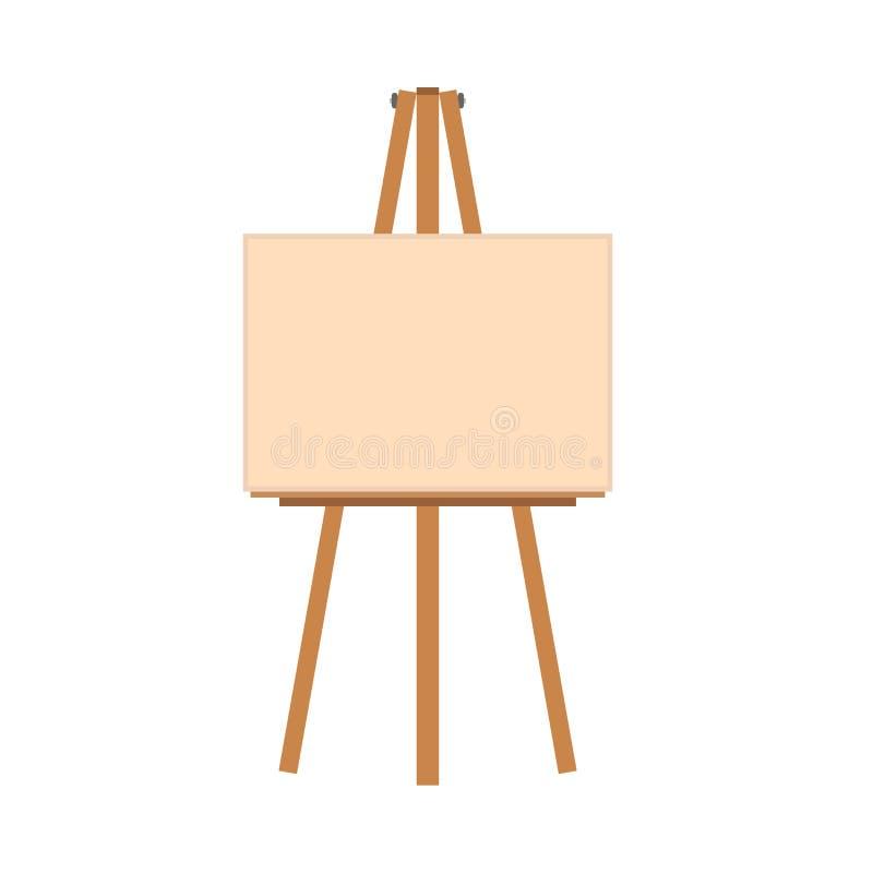 Icône plate de vecteur d'illustration d'art de chevalet Panneau vide de cadre de toile d'artiste Peignez la bande dessinée en boi illustration libre de droits
