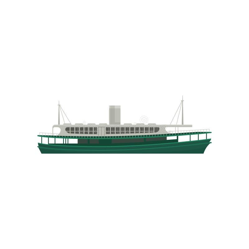 Icône plate de vecteur de ferry célèbre de Hong Kong Grand bateau vert pour des passagers Grand navire marin illustration libre de droits
