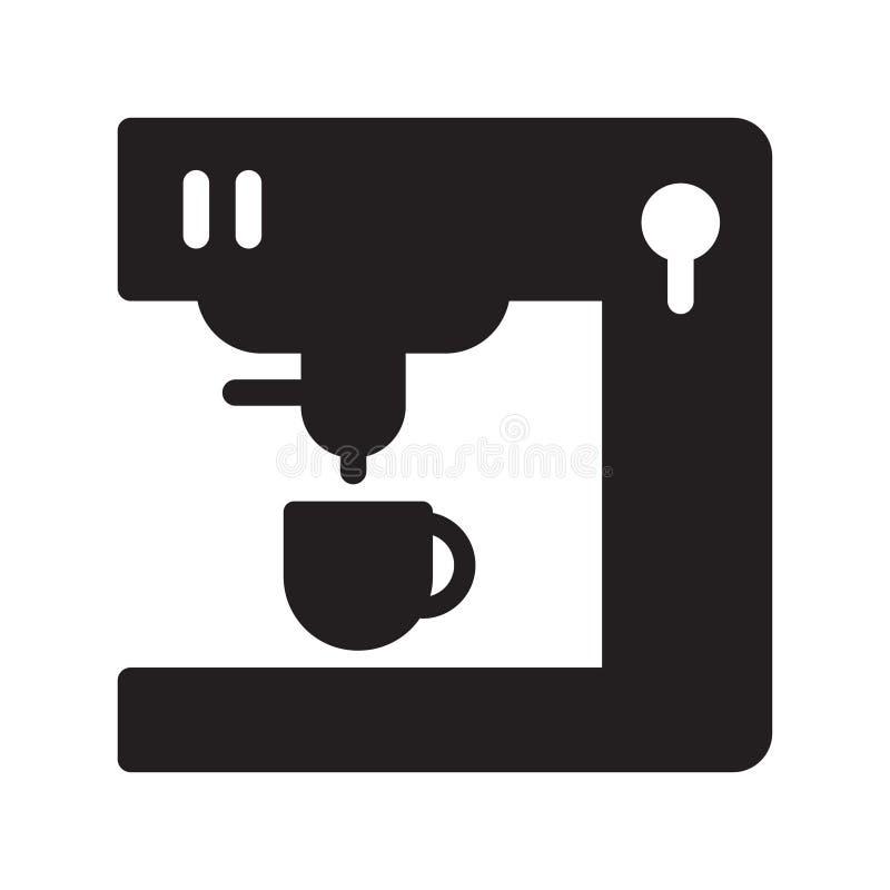 Icône plate de vecteur de glyph de fabricant de café illustration stock