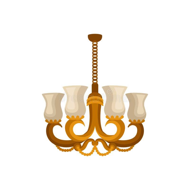 Icône plate de vecteur de lustre d'or antique Lumière accrochante décorative avec quatre branches pour les ampoules illustration libre de droits