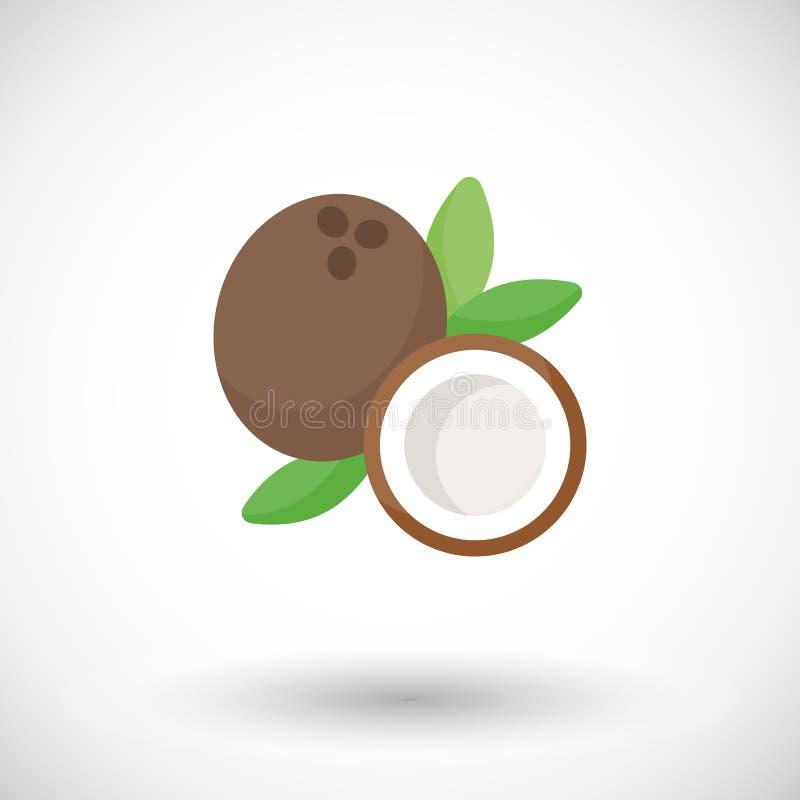 Icône plate de vecteur de noix de coco illustration de vecteur