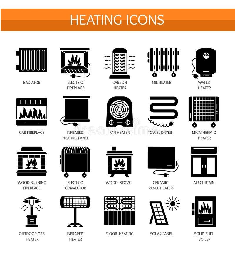 Icône plate de vecteur réglée avec le radiateur, le convecteur et la cheminée Hom illustration de vecteur