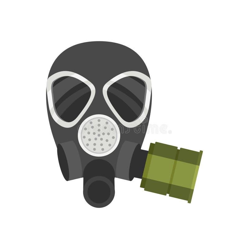 Icône plate de vecteur de respirateur pour des sapeurs-pompiers ou des militaires Équipement de protection Masque de gaz avec le  illustration de vecteur