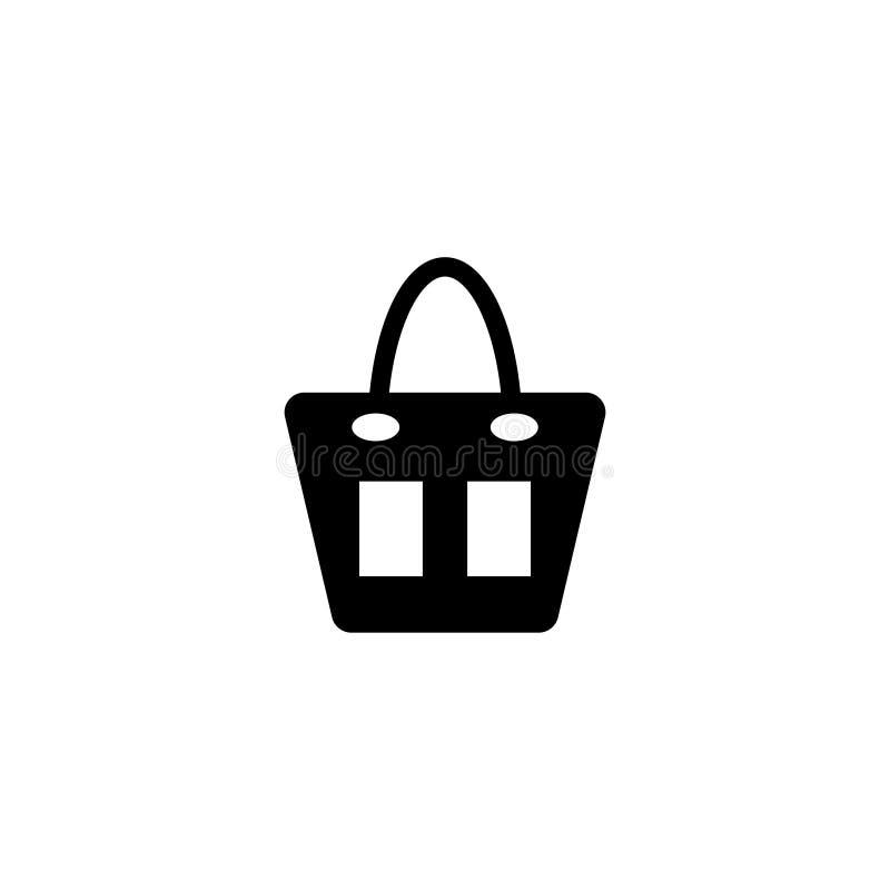 Icône plate de vecteur de sac à main femelle illustration stock